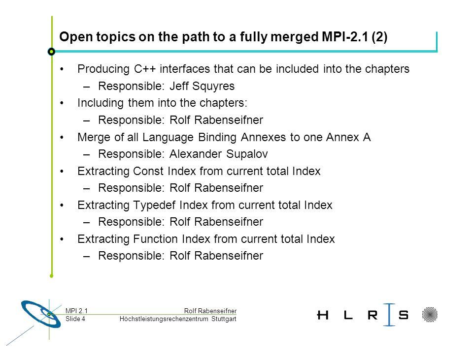 Höchstleistungsrechenzentrum Stuttgart Rolf RabenseifnerMPI 2.1 Slide 4 Open topics on the path to a fully merged MPI-2.1 (2) Producing C++ interfaces