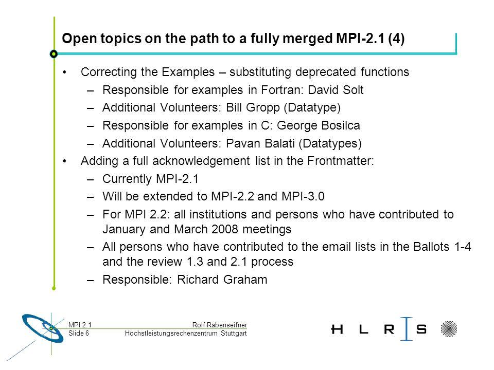 Höchstleistungsrechenzentrum Stuttgart Rolf RabenseifnerMPI 2.1 Slide 6 Open topics on the path to a fully merged MPI-2.1 (4) Correcting the Examples