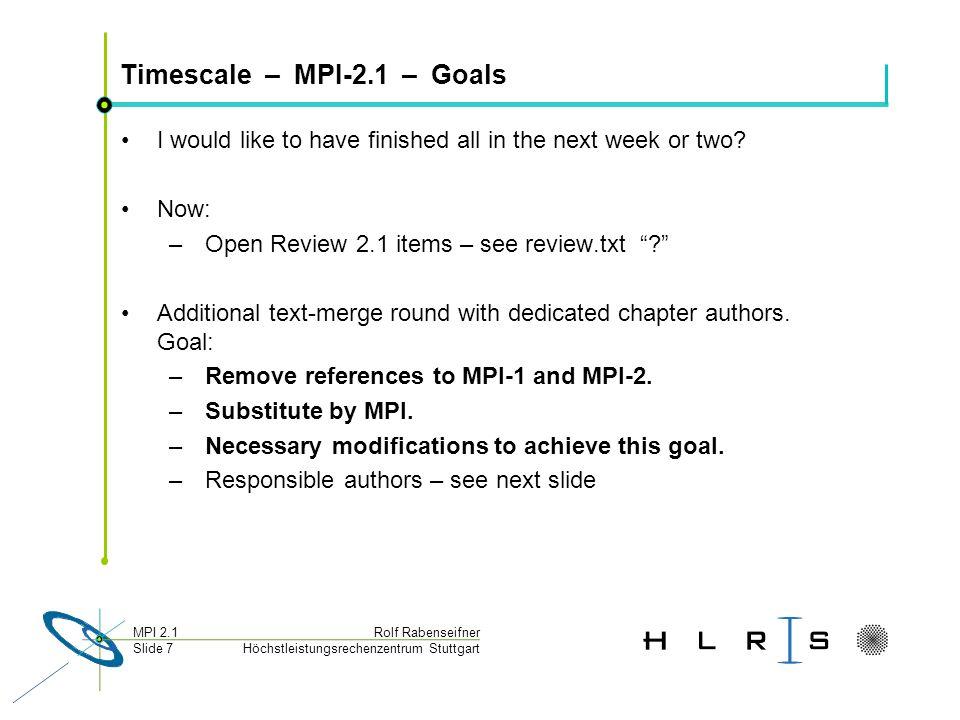 Höchstleistungsrechenzentrum Stuttgart Rolf RabenseifnerMPI 2.1 Slide 7 Timescale – MPI-2.1 – Goals I would like to have finished all in the next week