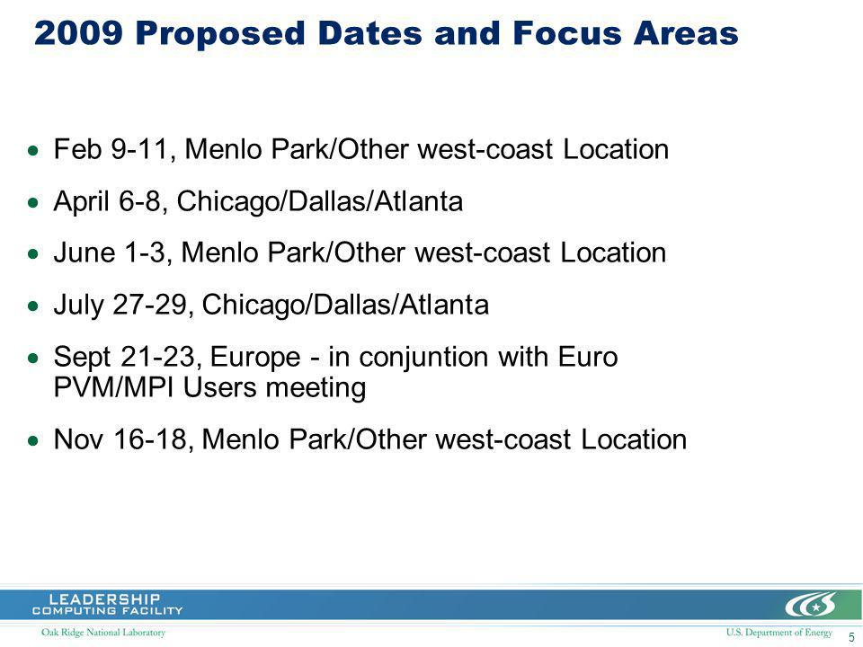 5 2009 Proposed Dates and Focus Areas Feb 9-11, Menlo Park/Other west-coast Location April 6-8, Chicago/Dallas/Atlanta June 1-3, Menlo Park/Other west-coast Location July 27-29, Chicago/Dallas/Atlanta Sept 21-23, Europe - in conjuntion with Euro PVM/MPI Users meeting Nov 16-18, Menlo Park/Other west-coast Location