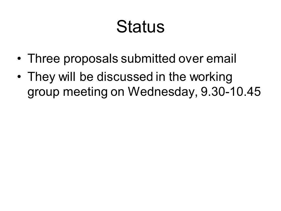 Status Three proposals submitted over  They will be discussed in the working group meeting on Wednesday,