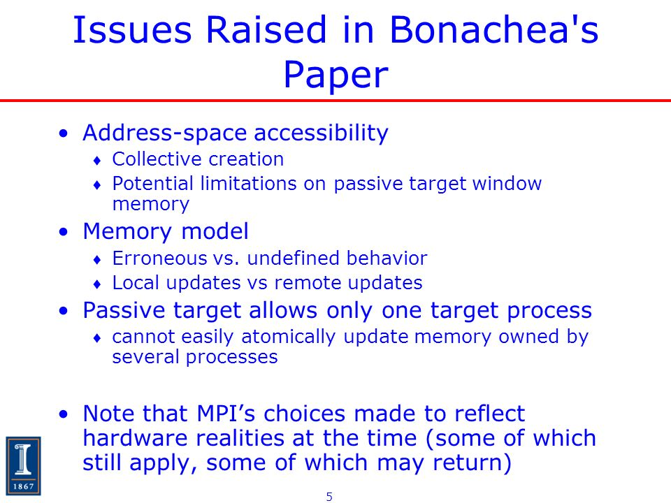 5 Issues Raised in Bonachea's Paper Address-space accessibility Collective creation Potential limitations on passive target window memory Memory model