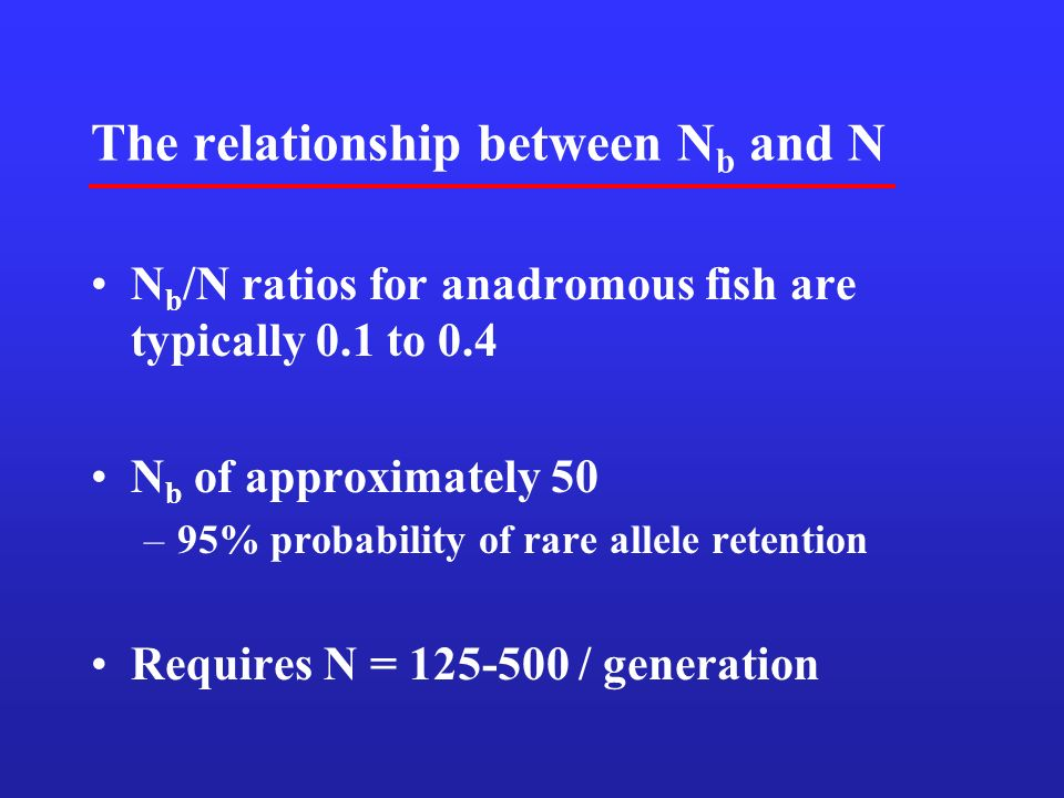 The relationship between N b and N N b /N ratios for anadromous fish are typically 0.1 to 0.4 N b of approximately 50 –95% probability of rare allele