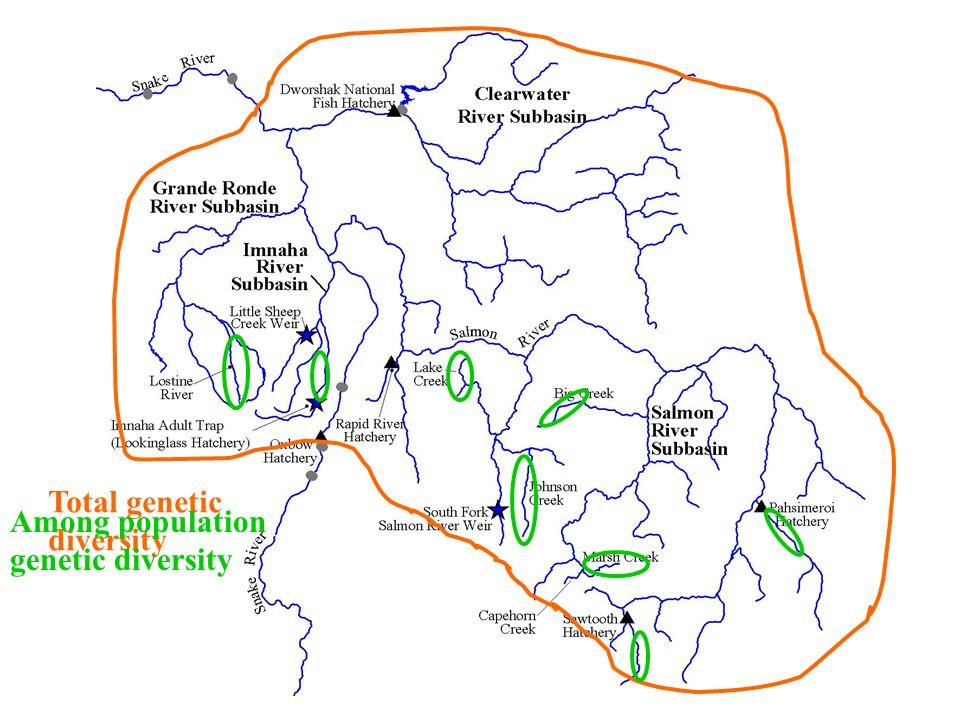 Total genetic diversity Among population genetic diversity