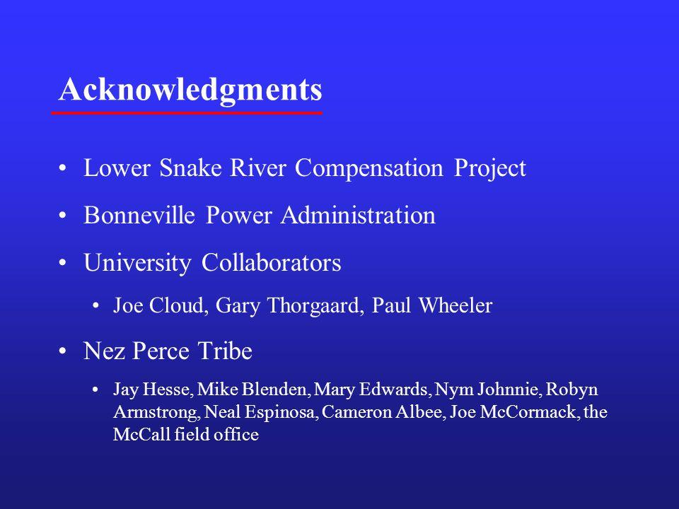 Acknowledgments Lower Snake River Compensation Project Bonneville Power Administration University Collaborators Joe Cloud, Gary Thorgaard, Paul Wheele