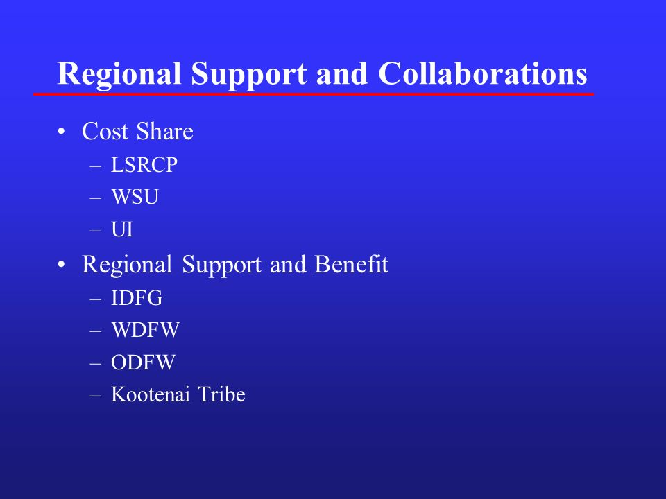 Regional Support and Collaborations Cost Share –LSRCP –WSU –UI Regional Support and Benefit –IDFG –WDFW –ODFW –Kootenai Tribe