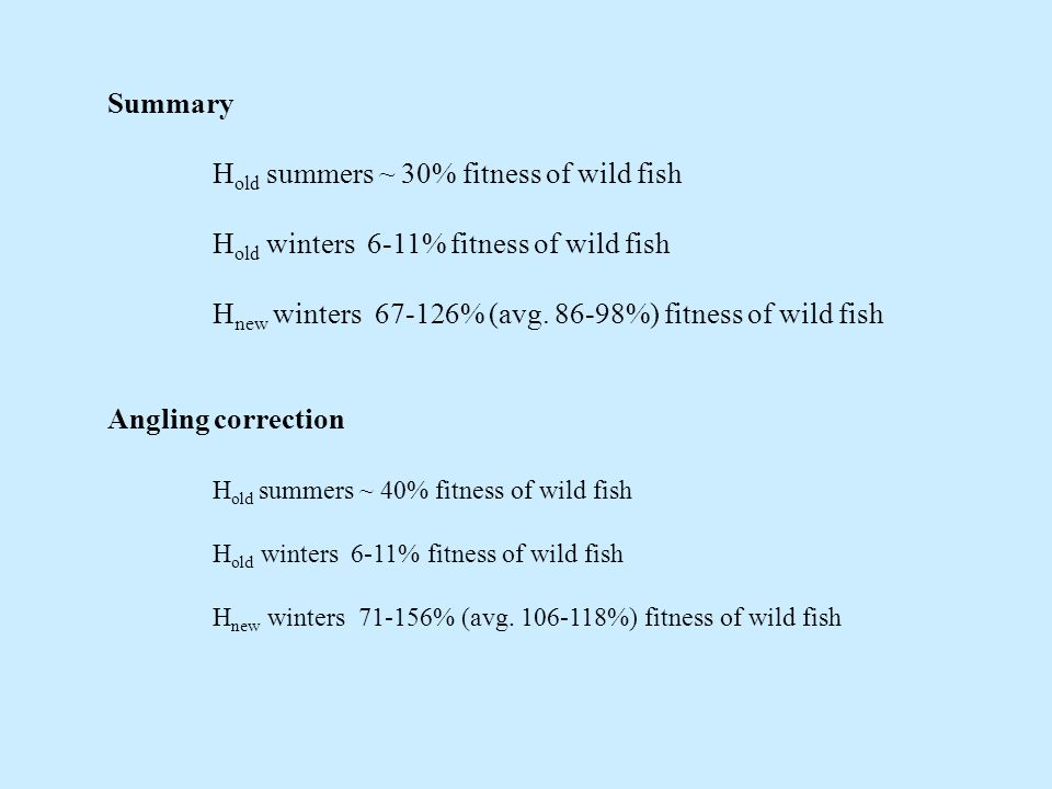 Summary H old summers ~ 30% fitness of wild fish H old winters 6-11% fitness of wild fish H new winters % (avg.