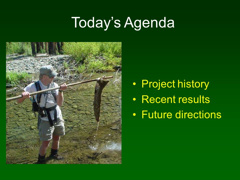 Project history Recent results Future directions Todays Agenda