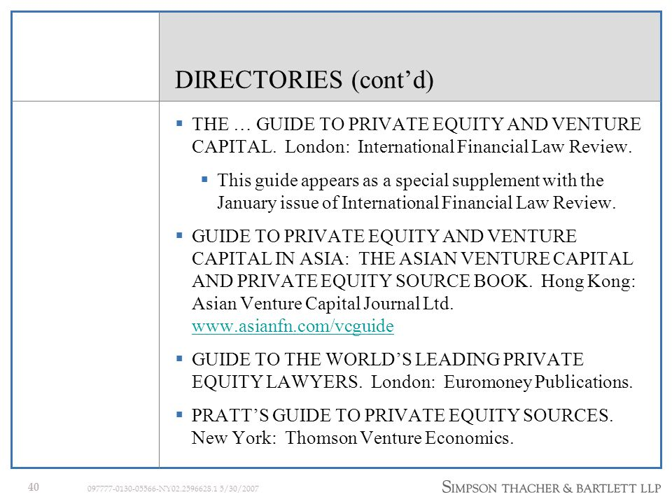 39 097777-0130-05566-NY02.2596628.1 5/30/2007 DIRECTORIES DIRECTORY OF ALTERNATIVE INVESTMENT PROGRAMS.