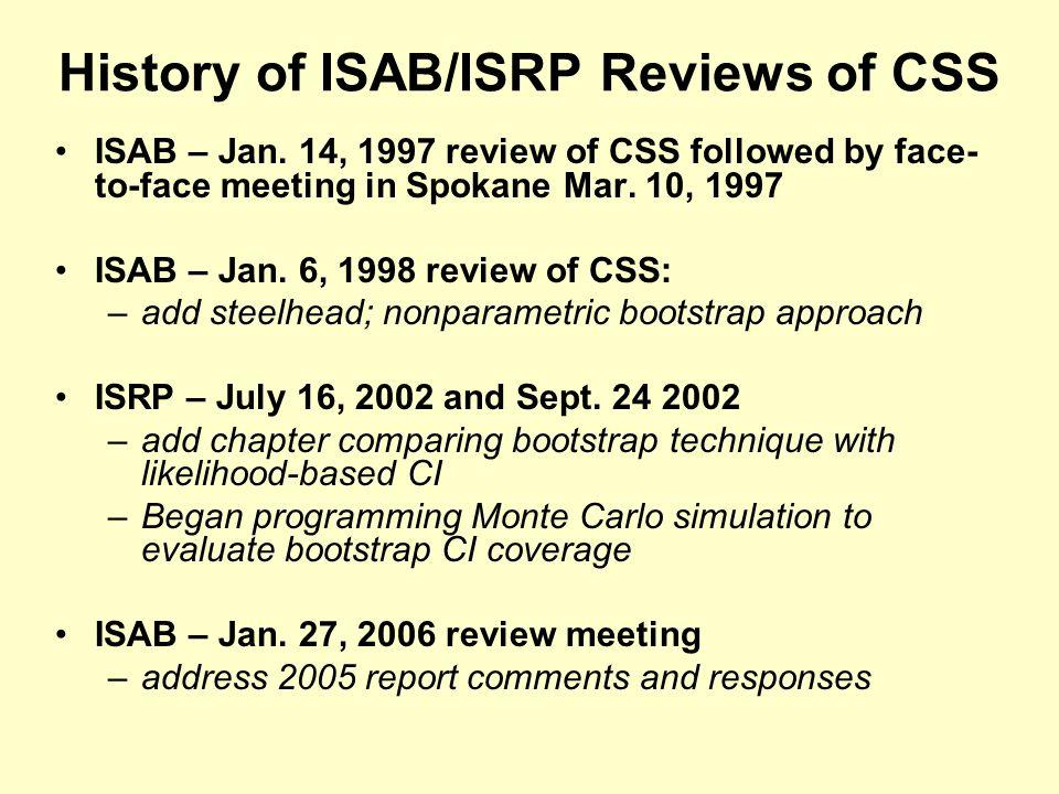 History of ISAB/ISRP Reviews of CSS ISAB – Jan.