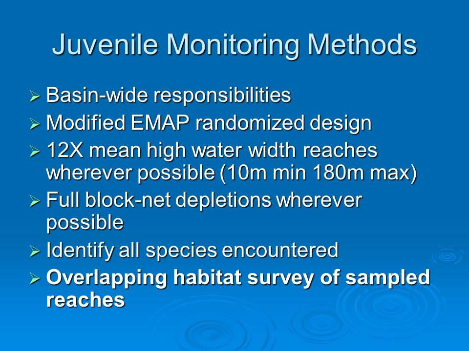 Juvenile Monitoring Methods Basin-wide responsibilities Basin-wide responsibilities Modified EMAP randomized design Modified EMAP randomized design 12