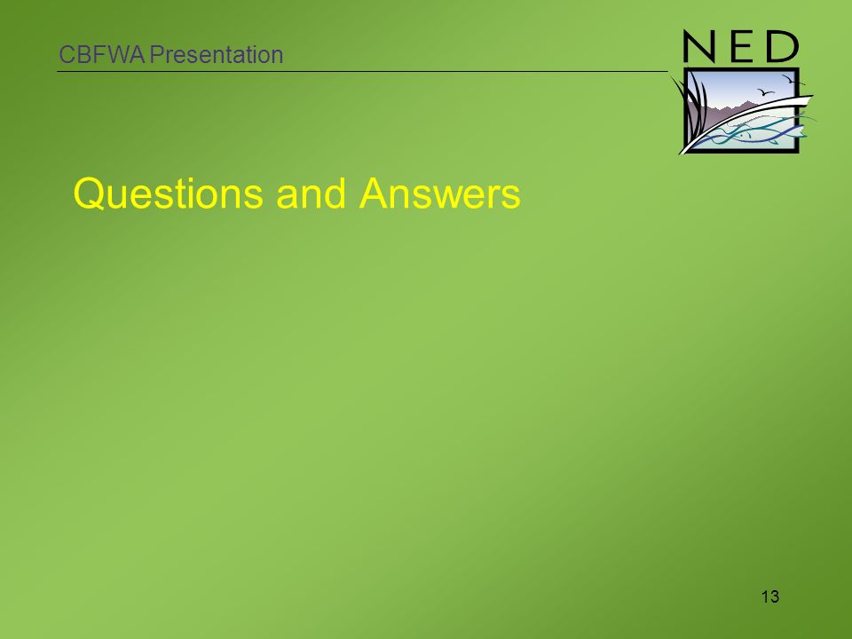 CBFWA Presentation 13 Questions and Answers