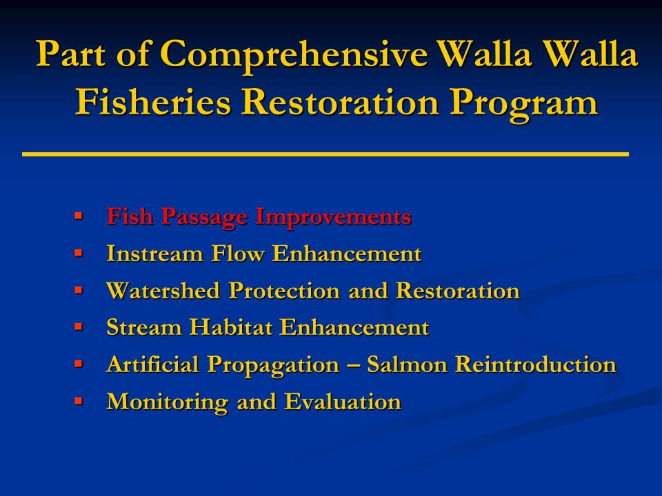 Project Accomplishments LWW Diversion Gravel Burn Blocked Flow & Passage Rubber Dam With Passage Slot