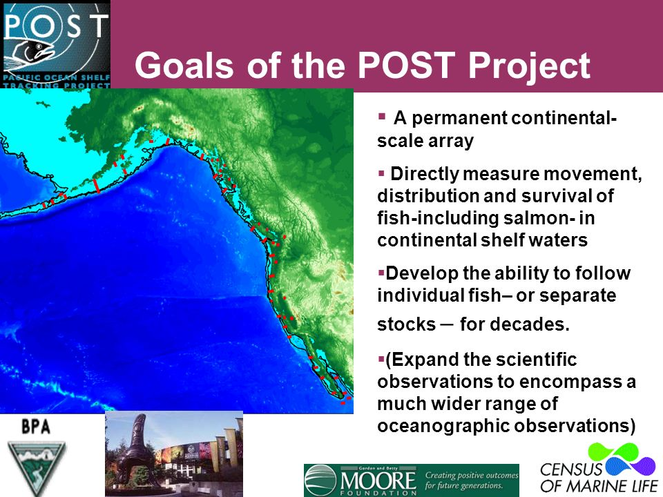 Goals of the POST Project A permanent continental- scale array Directly measure movement, distribution and survival of fish-including salmon- in continental shelf waters Develop the ability to follow individual fish– or separate stocks – for decades.