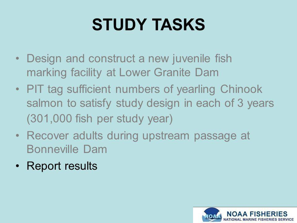 STUDY TASKS Design and construct a new juvenile fish marking facility at Lower Granite Dam PIT tag sufficient numbers of yearling Chinook salmon to sa