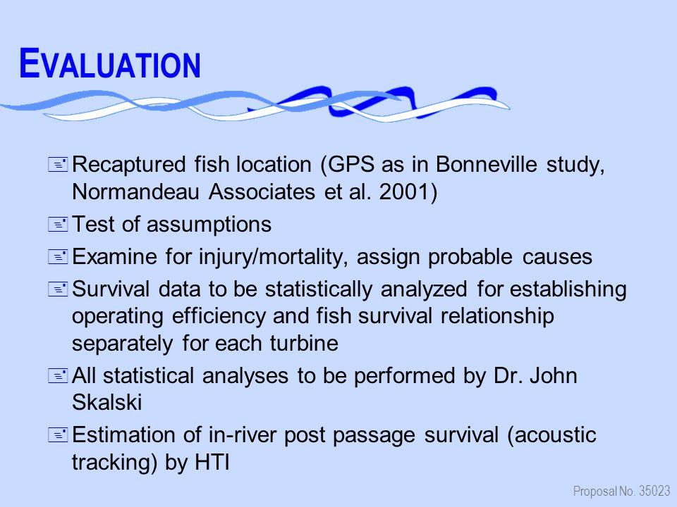 Proposal No. 35023 E VALUATION + Recaptured fish location (GPS as in Bonneville study, Normandeau Associates et al. 2001) + Test of assumptions + Exam