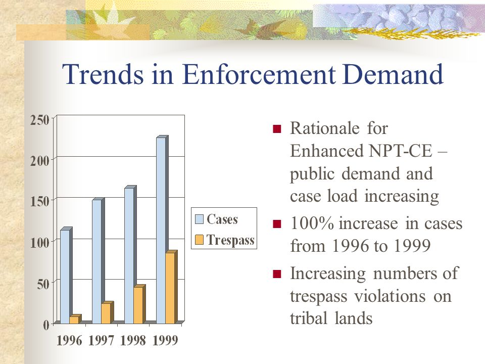 Trends in Enforcement Demand Rationale for Enhanced NPT-CE – public demand and case load increasing 100% increase in cases from 1996 to 1999 Increasing numbers of trespass violations on tribal lands