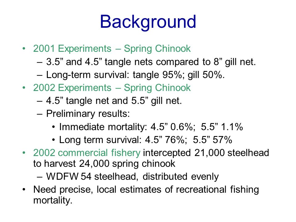 Background 2001 Experiments – Spring Chinook –3.5 and 4.5 tangle nets compared to 8 gill net.