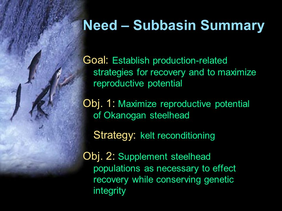 Need – Subbasin Summary Goal: Establish production-related strategies for recovery and to maximize reproductive potential Obj.