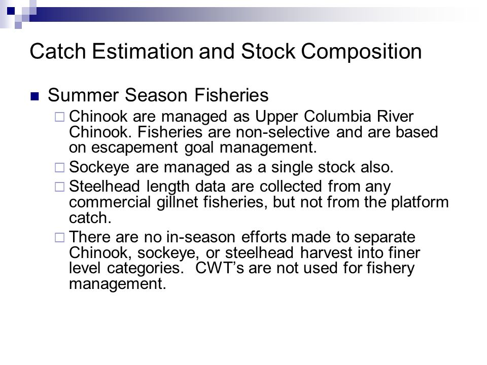Catch Estimation and Stock Composition Summer Season Fisheries Chinook are managed as Upper Columbia River Chinook. Fisheries are non-selective and ar