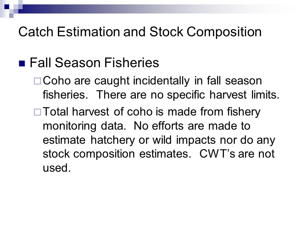 Catch Estimation and Stock Composition Fall Season Fisheries Coho are caught incidentally in fall season fisheries. There are no specific harvest limi