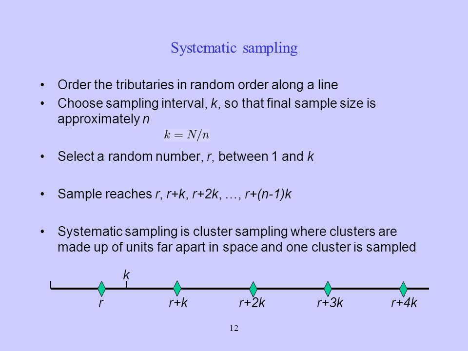 12 Systematic sampling Order the tributaries in random order along a line Choose sampling interval, k, so that final sample size is approximately n Select a random number, r, between 1 and k Sample reaches r, r+k, r+2k, …, r+(n-1)k Systematic sampling is cluster sampling where clusters are made up of units far apart in space and one cluster is sampled k rr+kr+2kr+4kr+3k