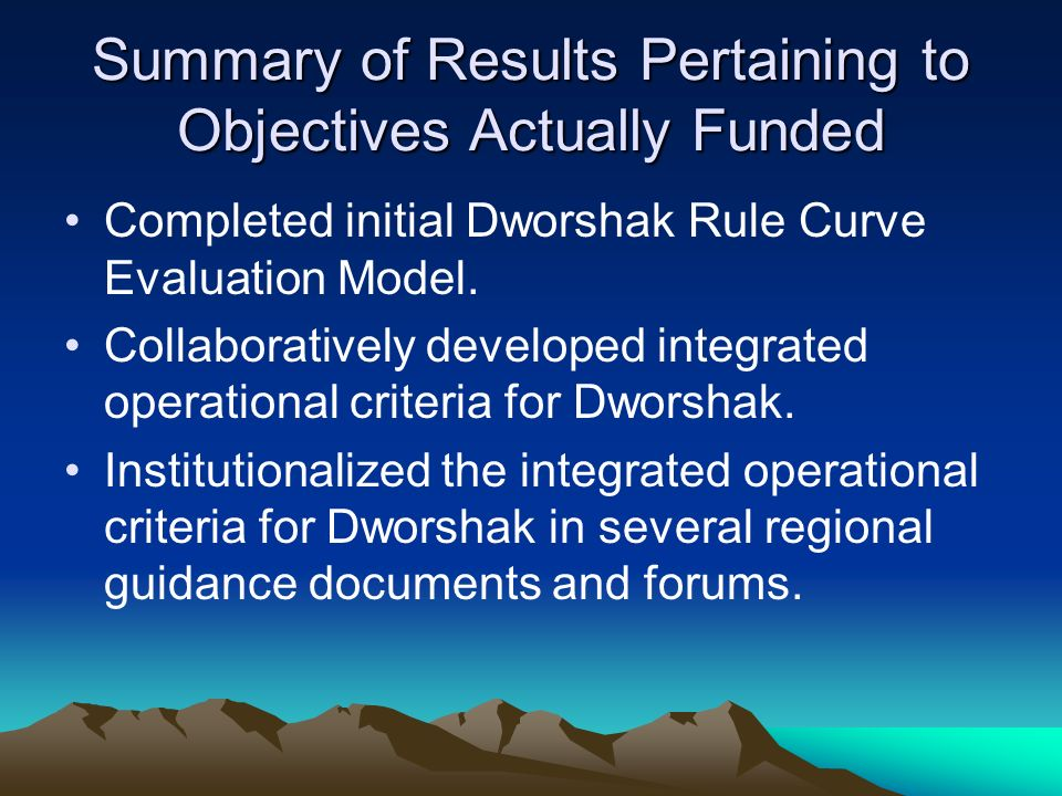 Summary of Results Pertaining to Objectives Actually Funded Completed initial Dworshak Rule Curve Evaluation Model.