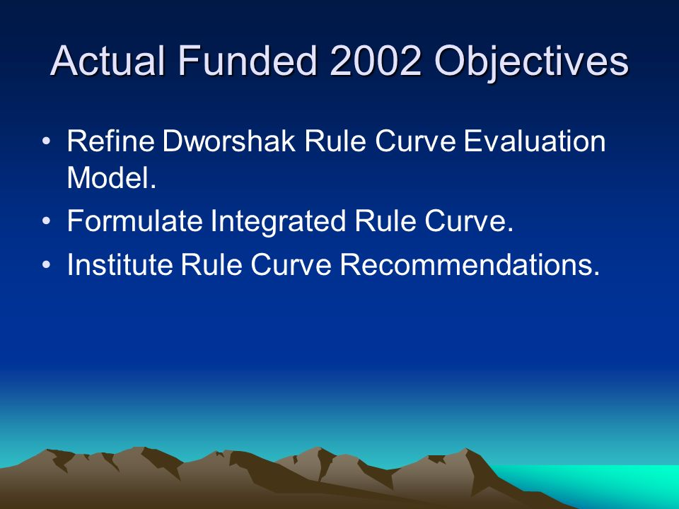 Actual Funded 2002 Objectives Refine Dworshak Rule Curve Evaluation Model.