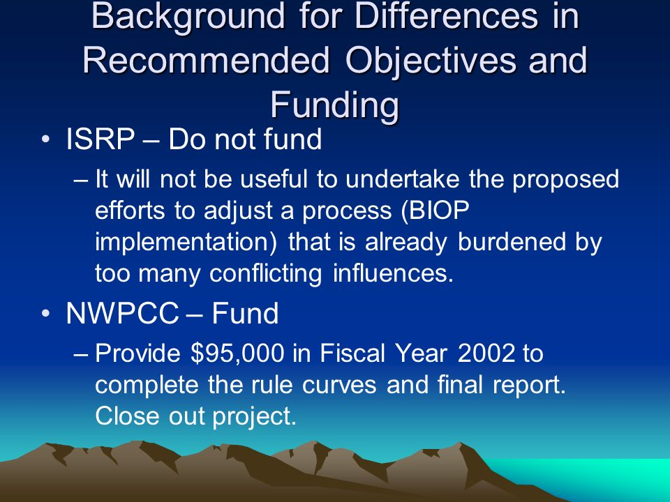 Institute Rule Curve Recommendations Collaboratively developed integrated criteria have been institutionalized in: –Dworshak Operation Plan (Idaho Water Resource Board 2000).