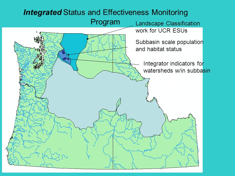 Integrated Status and Effectiveness Monitoring Program Landscape Classification work for UCR ESUs Subbasin scale population and habitat status Integrator indicators for watersheds w/in subbasin