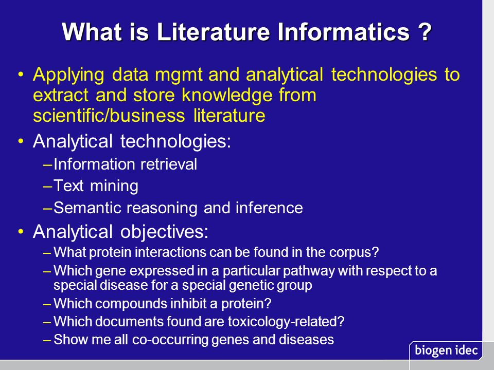 What is Literature Informatics .