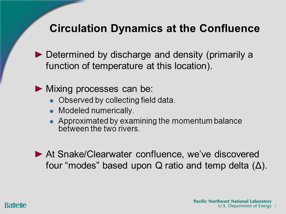 3 Circulation Dynamics at the Confluence Determined by discharge and density (primarily a function of temperature at this location). Mixing processes