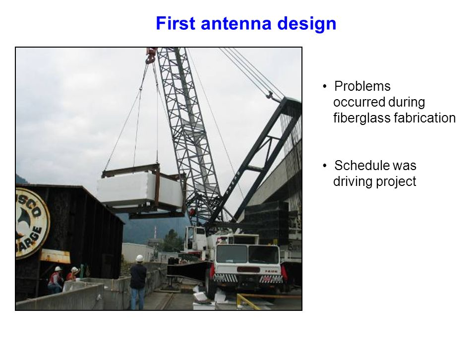 Problems occurred during fiberglass fabrication First antenna design Schedule was driving project