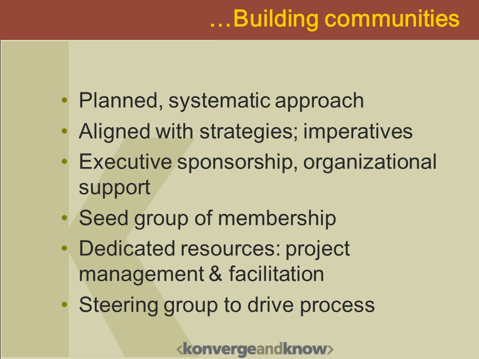 …Building communities Planned, systematic approach Aligned with strategies; imperatives Executive sponsorship, organizational support Seed group of me