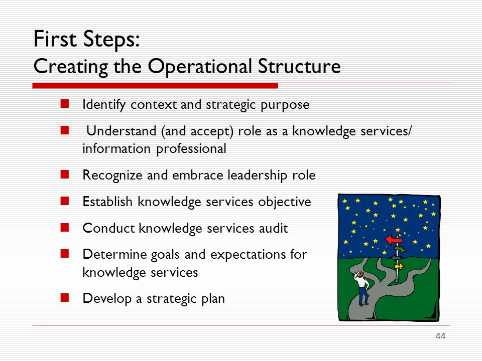 44 First Steps: Creating the Operational Structure Identify context and strategic purpose Understand (and accept) role as a knowledge services/ information professional Recognize and embrace leadership role Establish knowledge services objective Conduct knowledge services audit Determine goals and expectations for knowledge services Develop a strategic plan