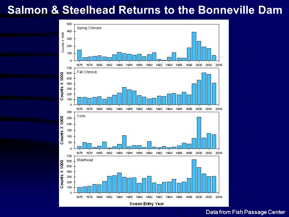 Salmon & Steelhead Returns to the Bonneville Dam Data from Fish Passage Center