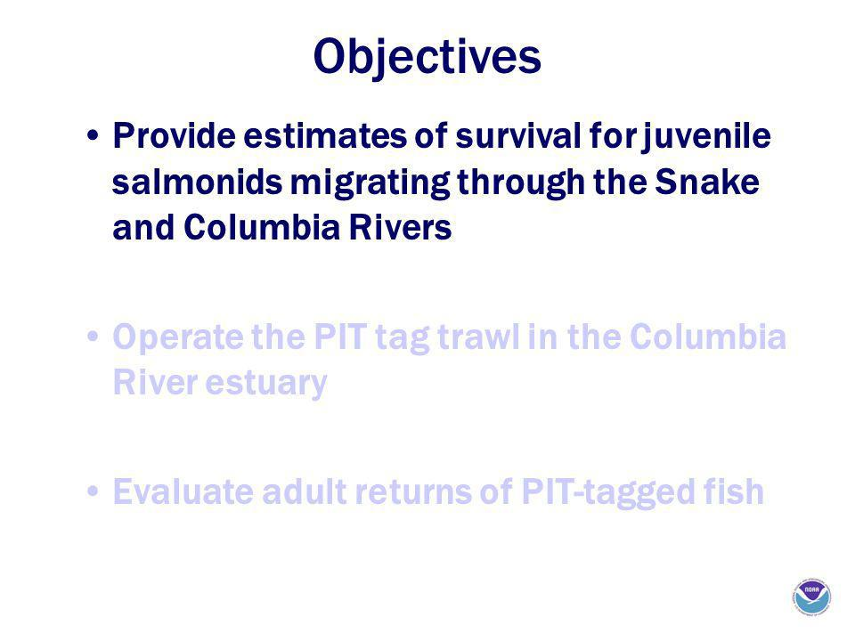 Objectives Provide estimates of survival for juvenile salmonids migrating through the Snake and Columbia Rivers Operate the PIT tag trawl in the Columbia River estuary Evaluate adult returns of PIT-tagged fish