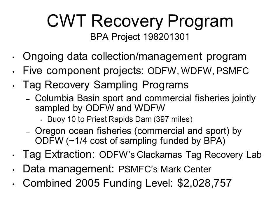 CWT Recovery Program BPA Project 198201301 Ongoing data collection/management program Five component projects: ODFW, WDFW, PSMFC Tag Recovery Sampling