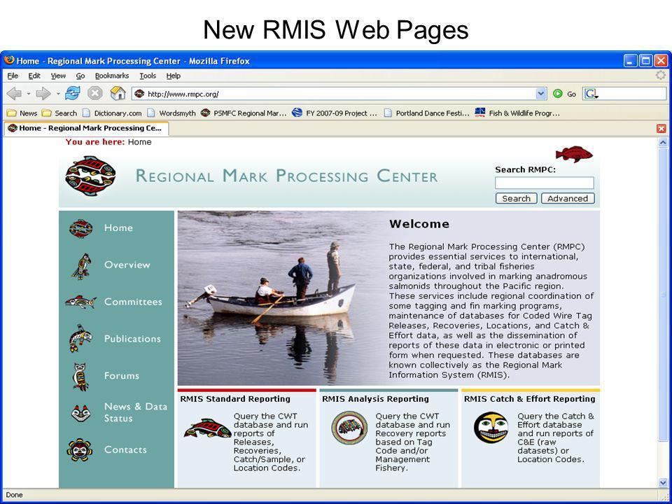 New RMIS Web Pages