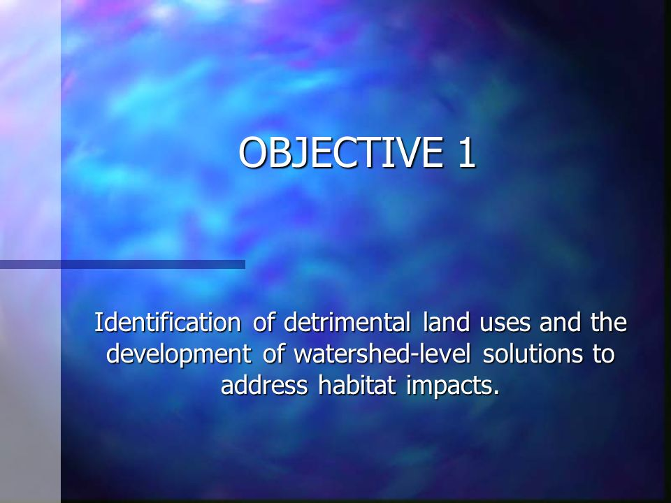 OBJECTIVE 1 Identification of detrimental land uses and the development of watershed-level solutions to address habitat impacts.