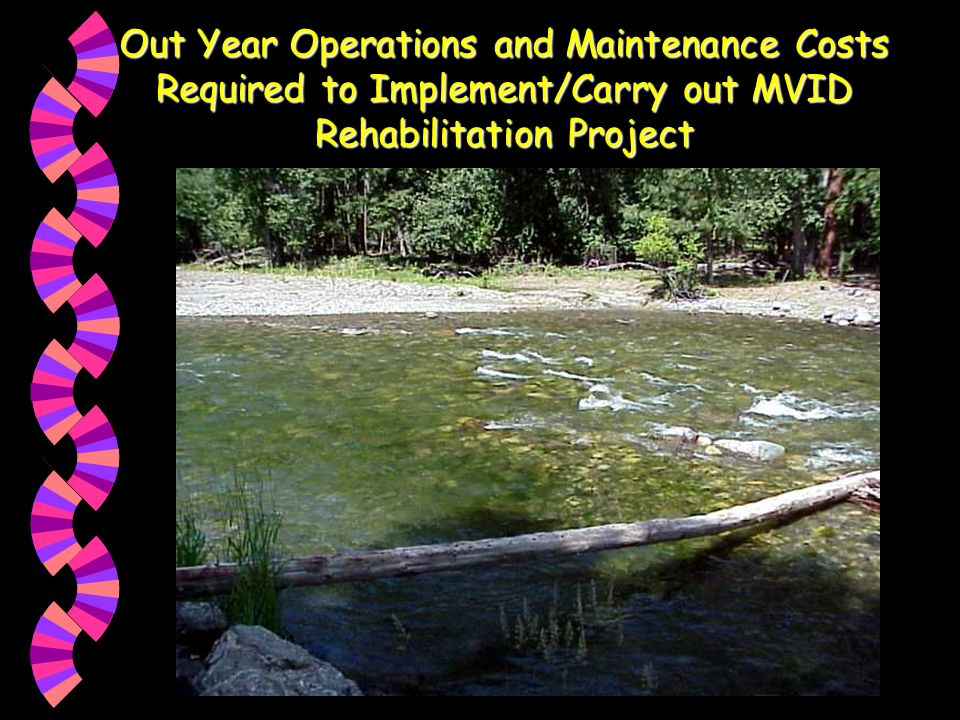 Out Year Operations and Maintenance Costs Required to Implement/Carry out MVID Rehabilitation Project