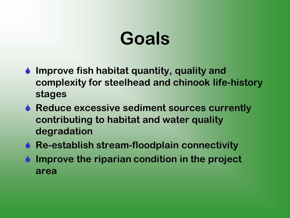 Goals Improve fish habitat quantity, quality and complexity for steelhead and chinook life-history stages Reduce excessive sediment sources currently contributing to habitat and water quality degradation Re-establish stream-floodplain connectivity Improve the riparian condition in the project area