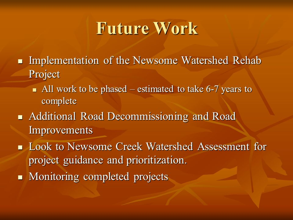 Future Work Implementation of the Newsome Watershed Rehab Project Implementation of the Newsome Watershed Rehab Project All work to be phased – estimated to take 6-7 years to complete All work to be phased – estimated to take 6-7 years to complete Additional Road Decommissioning and Road Improvements Additional Road Decommissioning and Road Improvements Look to Newsome Creek Watershed Assessment for project guidance and prioritization.