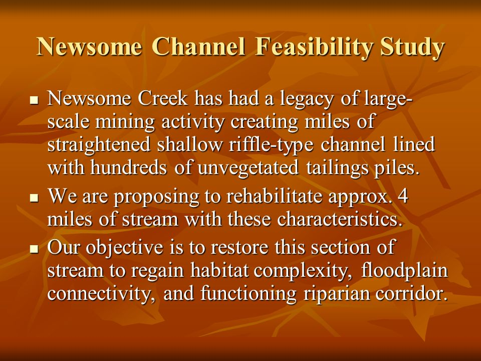 Newsome Channel Feasibility Study Newsome Creek has had a legacy of large- scale mining activity creating miles of straightened shallow riffle-type channel lined with hundreds of unvegetated tailings piles.