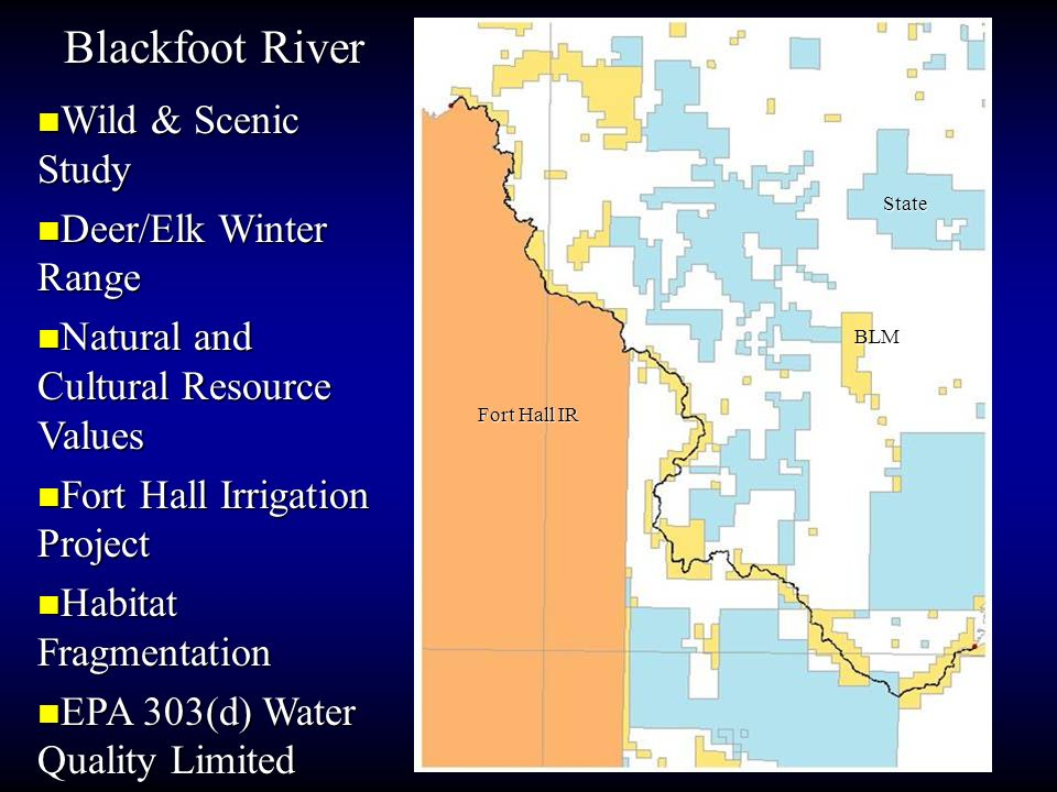 Blackfoot River Wild & Scenic Study Wild & Scenic Study Deer/Elk Winter Range Deer/Elk Winter Range Natural and Cultural Resource Values Natural and C
