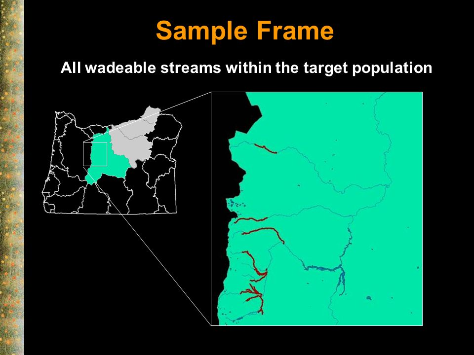 Sample Frame All wadeable streams within the target population