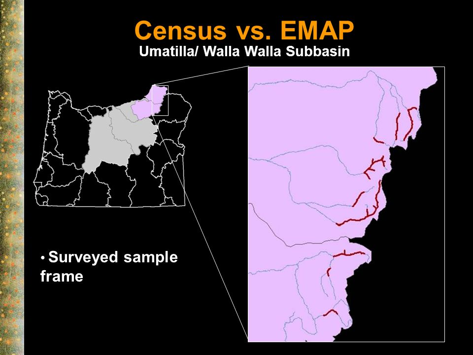 Census vs. EMAP Surveyed sample frame Umatilla/ Walla Walla Subbasin