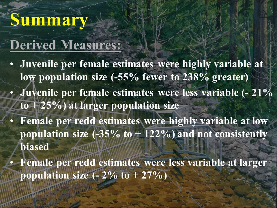 Summary Juvenile per female estimates were highly variable at low population size (-55% fewer to 238% greater) Juvenile per female estimates were less variable (- 21% to + 25%) at larger population size Female per redd estimates were highly variable at low population size (-35% to + 122%) and not consistently biased Female per redd estimates were less variable at larger population size (- 2% to + 27%) Derived Measures: