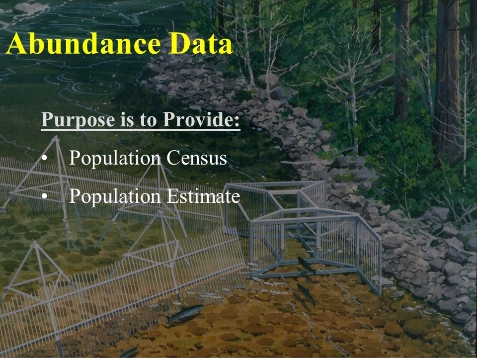 Abundance Data Purpose is to Provide: Population Census Population Estimate