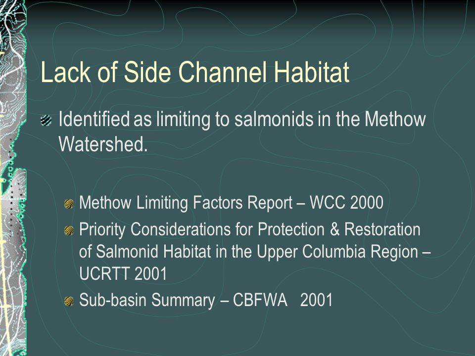 Lack of Side Channel Habitat Identified as limiting to salmonids in the Methow Watershed. Methow Limiting Factors Report – WCC 2000 Priority Considera